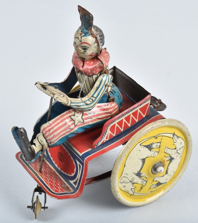 GnK Tin Windup CIRCUS CLOWN CRAZY CAR