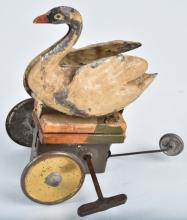 GERMAN Hand Painted Tin Windup SWAN
