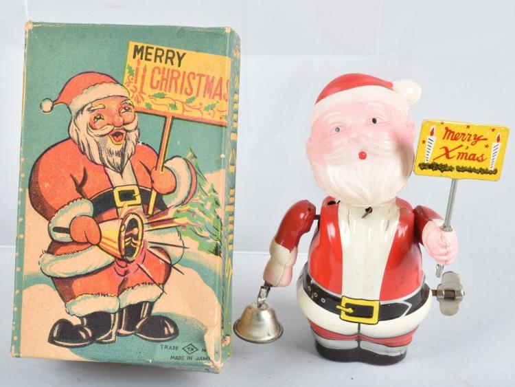 TN Tin & Celluloid Windup SANTA CLAUS w/ BOX