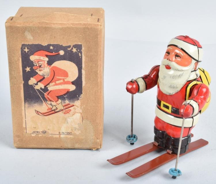 JAPAN Tin Windup SANTA CLAUS SKIER w/ BOX