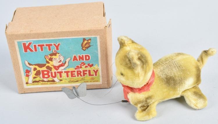 JAPAN Windup KITTY & BUTTERFLY w/ BOX
