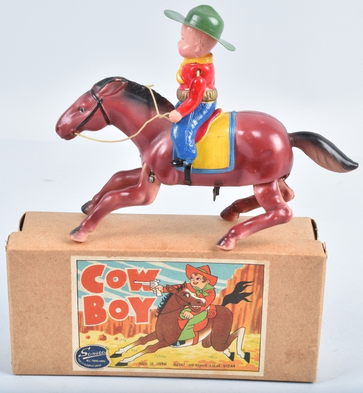 OCCUPIED JAPAN Celluloid windup COWBOY w/ BOX