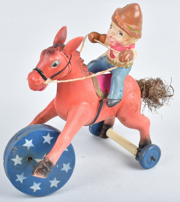 OCCUPIED JAPAN Celluloid Windup COWBOY ON HORSE