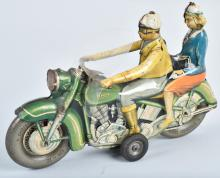 TIPP Tin Friction MOTORCYCLE w DRIVER & PASSENGER