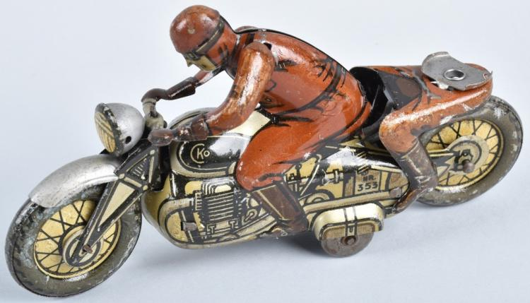 CKO Tin Windup MOTORCYCLE w/ DRIVER & PASSENGER