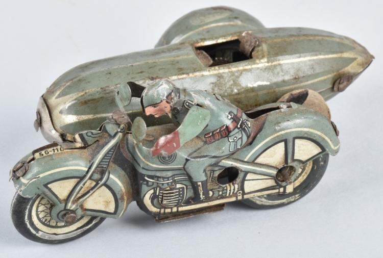 GUNTHERMAN Tin Windup MOTORCYCLE w/ SIDECAR