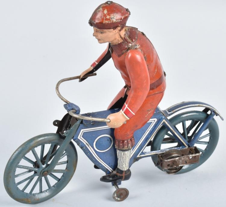 FISHER Tin Windup MOTORCYCLE w/ RIDER