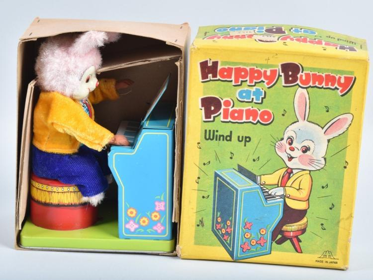 JAPAN Windup HAPPY BUNNY PIANO w/ BOX
