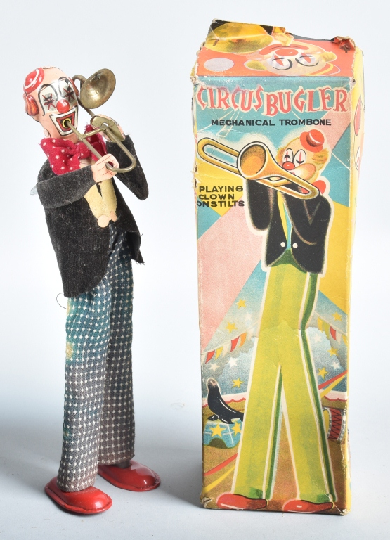 TPS Windup CIRCUS CLOWN BUGLER w/ BOX