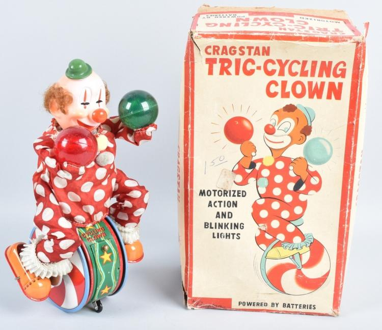 CRAGSTAN Battery Op TRIC-CYCLING CLOWN w/BOX