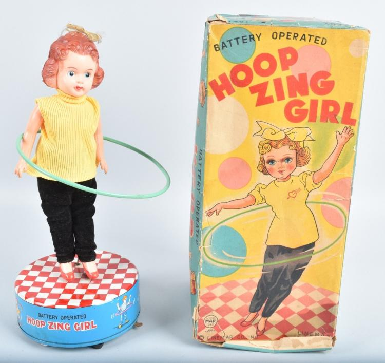 LINEMAR Battery Op HOOP ZING GIRL w/ BOX