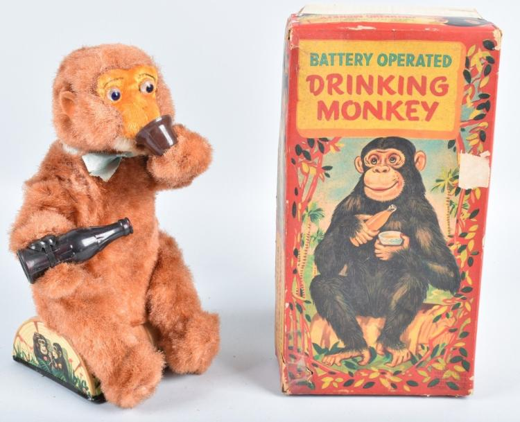 JAPAN Battery Operated DRINING MONKEY w/ BOX