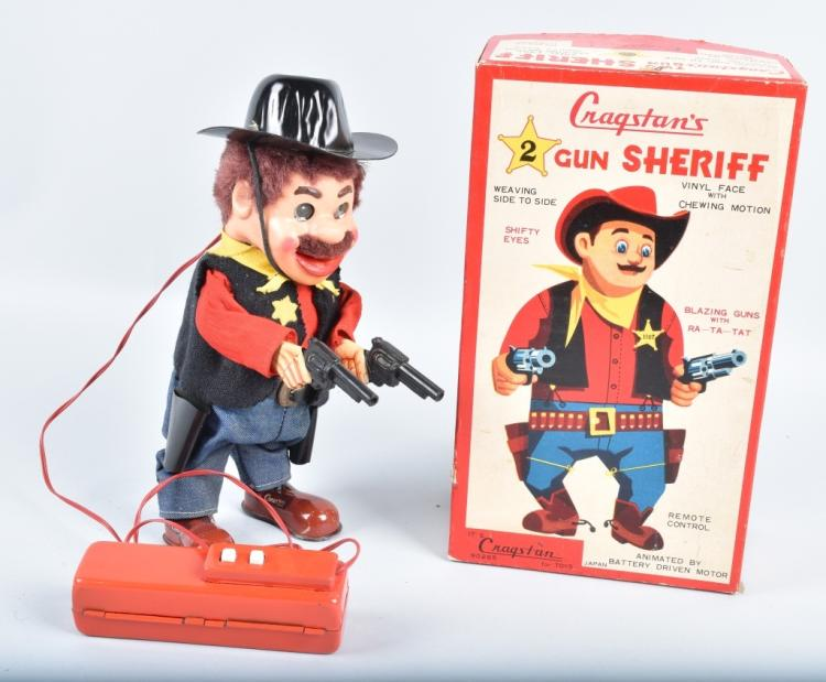 CRAGSTAN Battery Op 2 GUN SHERIFF w/ BOX