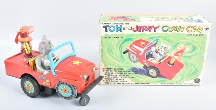 JAPAN Battery Op TOM & JERRY COMIC CAR w/ BOX
