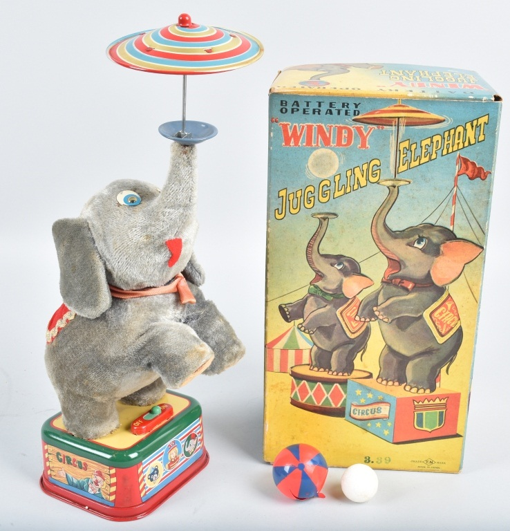 JAPAN Battery Op WINDY JUGGLING ELEPHANT w/BOX
