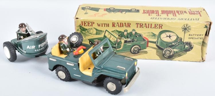 JAPAN Battery Op JEEP & RADA TRAILER w/ BOX