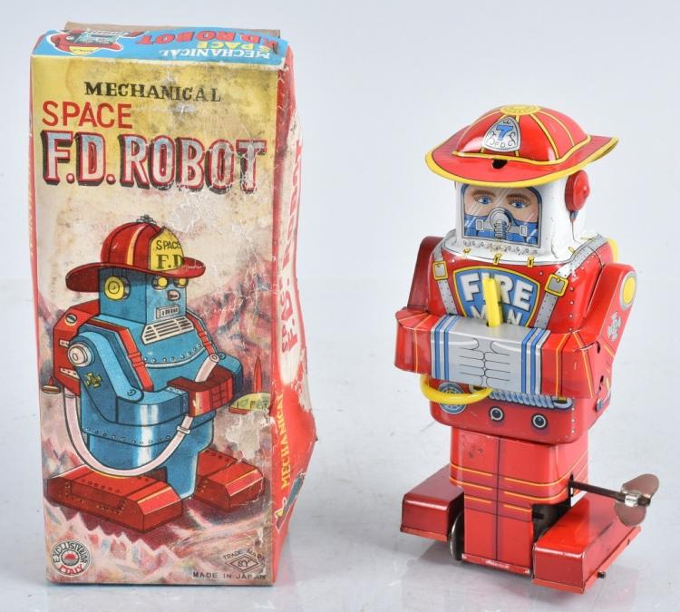 JAPAN Tin Windup SPACEMAN F D FIREMAN ROBOT w/BOX