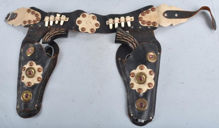 2- HUBLEY FRONTIER 45 CAP GUNS & HOLSTER
