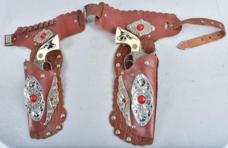 2- HUBLEY TEXAN JR CAP GUNS & HOLSTER