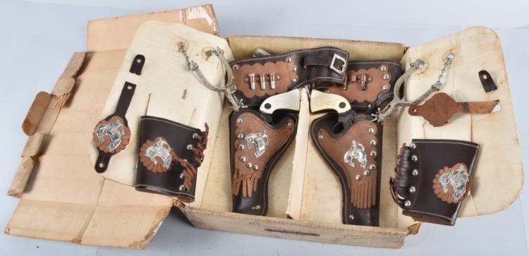 ESQUIRE PONY BOY 2 CAP GUN HOLSTER SET w/BOX