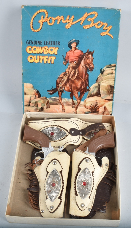 PONY BOY COWBOY CAP GUN & HOLSTER SET w/BOX