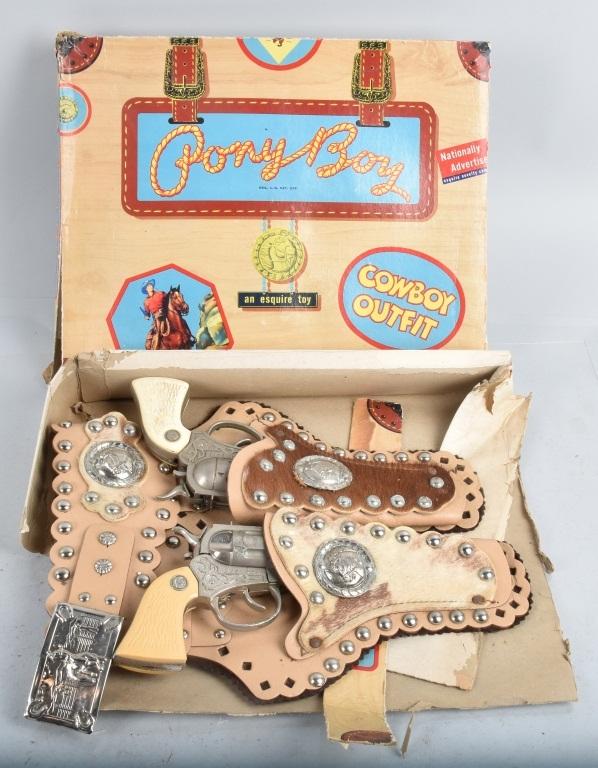 PONY BOY COWBOY CAP GUN & HOLSTER SET w/BOX