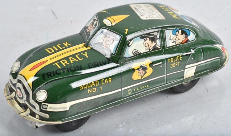 6 1/2 MARX Tin Friction DICK TRACY SQUAD CAR