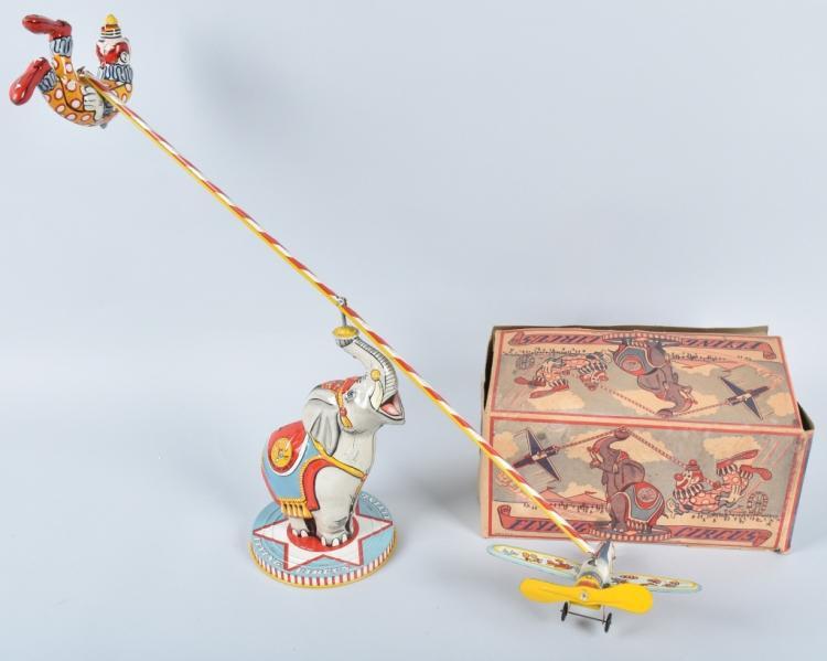 UNIQUE ART Tin Windup FLYING CIRCUS w/ BOX