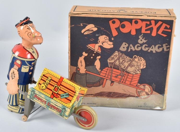MARX Tin Windup POPEYE & BAGGAGE w/ BOX