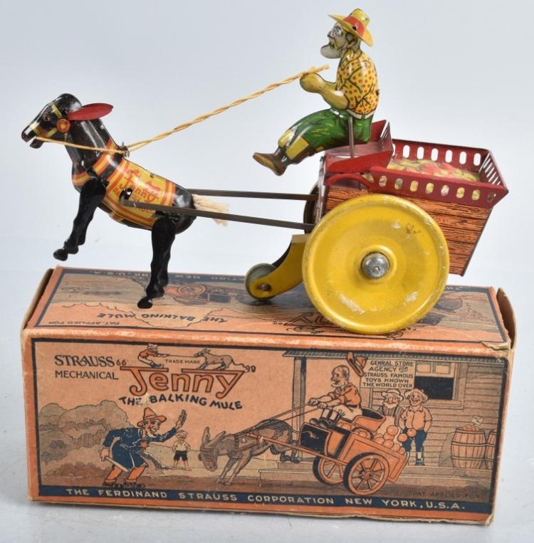 STRAUSS Tin Windup JENNY THE BALKING MULE w/BOX