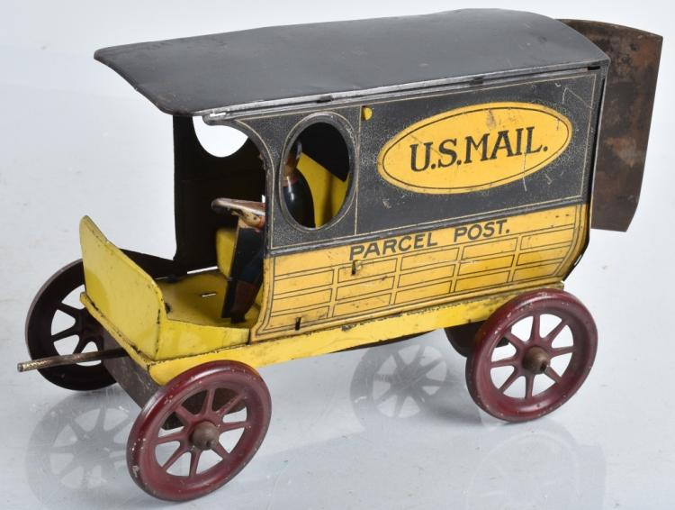 GILBERT Tin Windup US MAIL PARCEL POST VAN