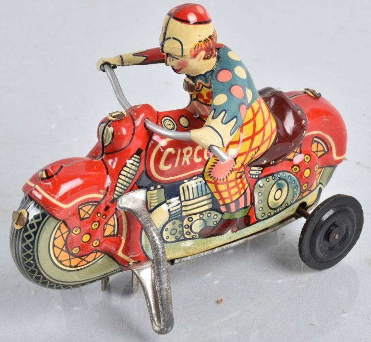 JAPAN Tin Windup CIRCUS CLOWN MOTORCYCLE