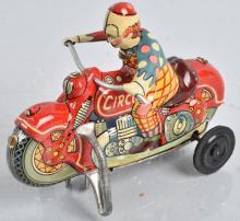 JAPAN Tin Windup CIRCUS CLOWN MOTORCYCLE