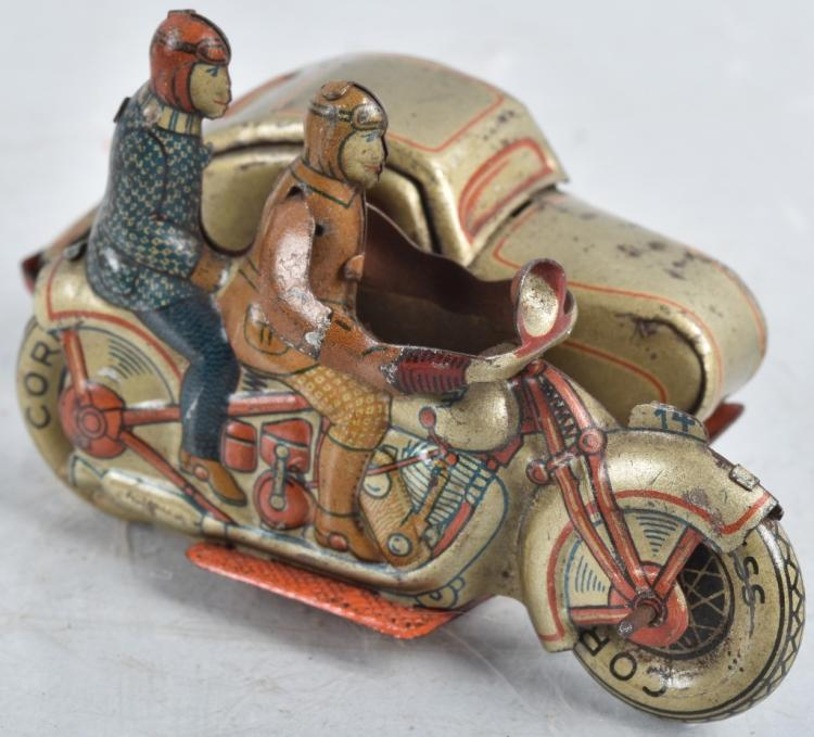 GERMAN Tin Windup MOTORCYCLE w/ SIDECAR