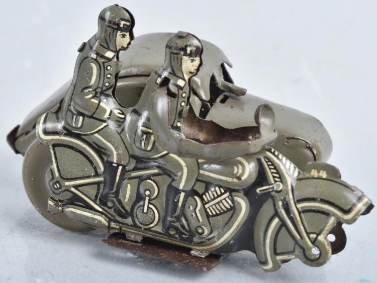 GERMAN Tin Windup MILITARY MOTORCYLE w/ SIDECAR