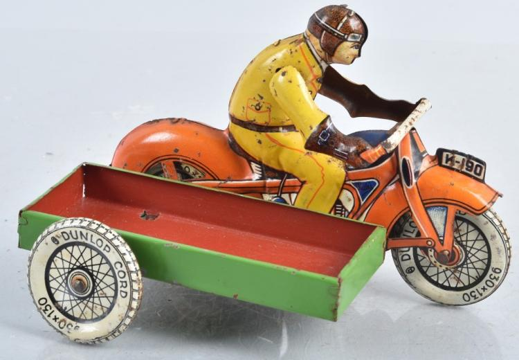 HUKI Tin Windup MOTORCYCLE w/ SIDE CART