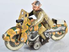 METTOY Tin Windup SOLDIER ON MOTORCYCLE