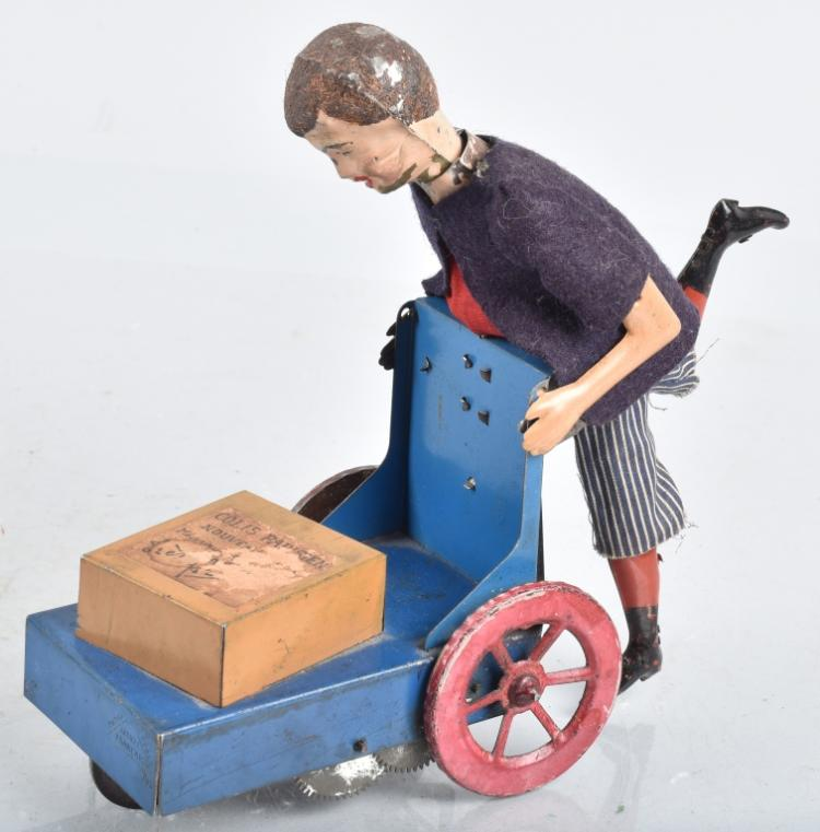 MARTIN Tin Windup BOY WITH BAGGAGE CART