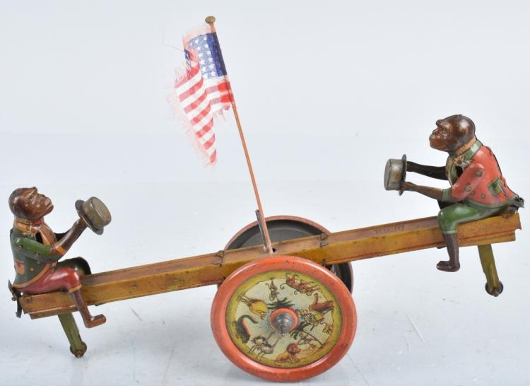 DITSLER Tin Windup MONKEY SEE-SAW