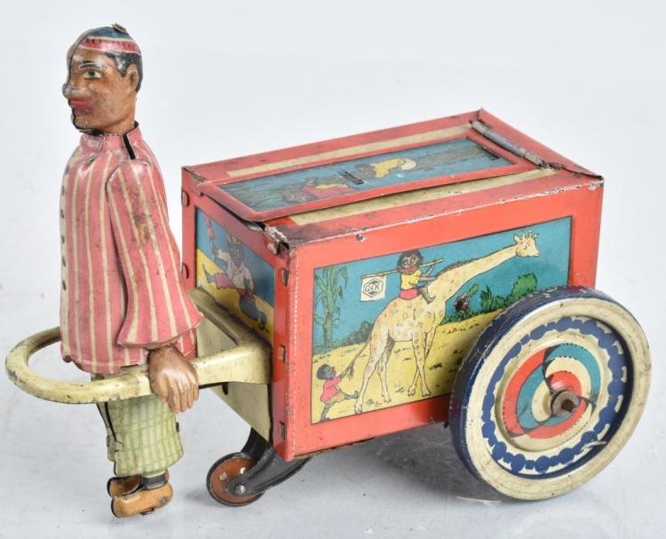 G&K Tin Windup CHINAMAN PULLING CART w/ BOY