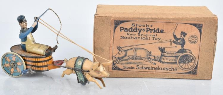 STOCK Tin Windup PADDYS PRIDE PIG CART w/BOX