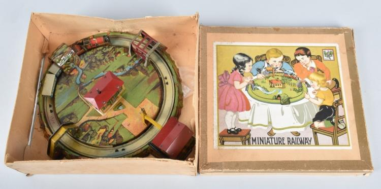 GERMANY Tin Windup MINIATURE RAILWAY w/ BOX