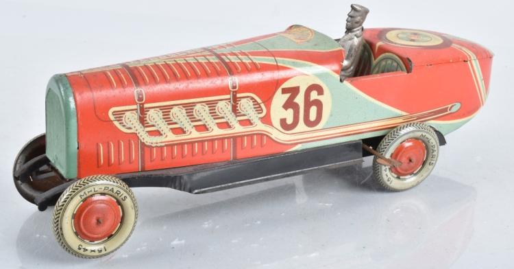 ML PARIS Tin Windup #36 BOATTAIL RACE CAR