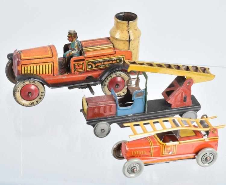 2- GERMAN PENNY TOY FIRE TRUCKS & MORE