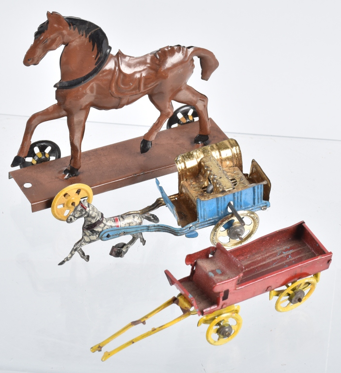 GERMAN TIN HORSE ON PLATFORM & 2 PENNY TOYS