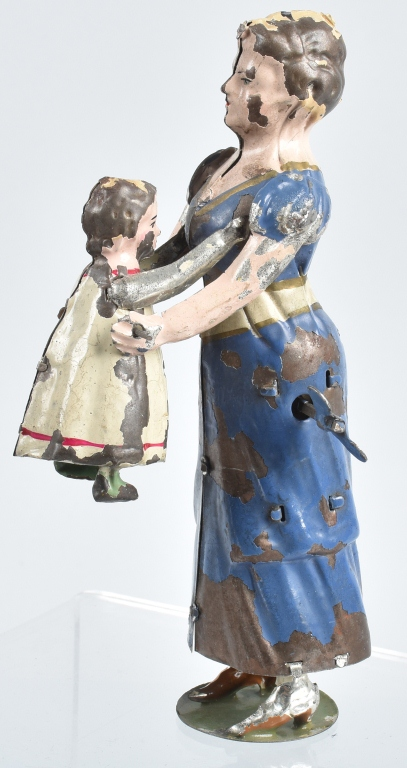 GERMAN Painted Tin Windup WOMAN & TODDLER