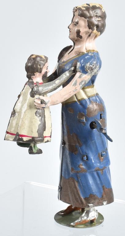 GERMAN Painted Tin Windup WOMAN & TODDLER