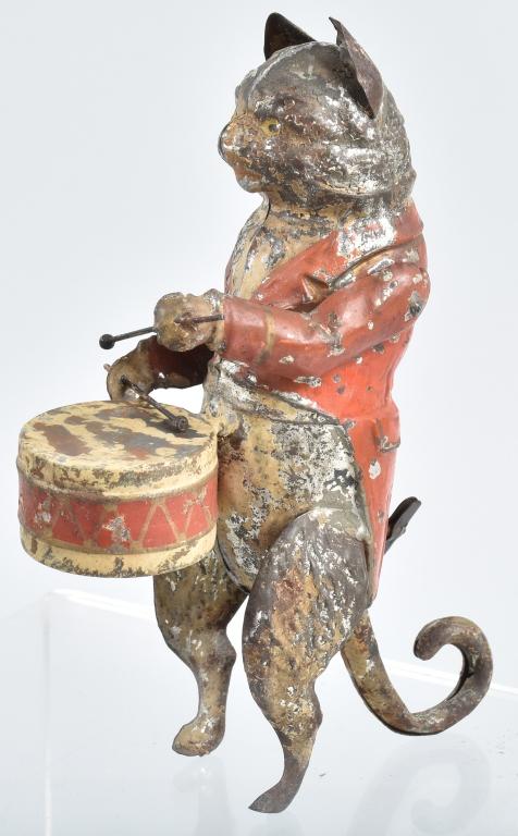 GERMAN Painted Tin Windup CAT DRUMMER