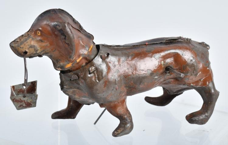 GERMAN Painted Tin Windup DACHSHUND DOG