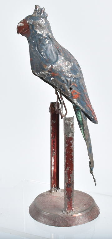 GERMAN Painted Tin Windup PARROT